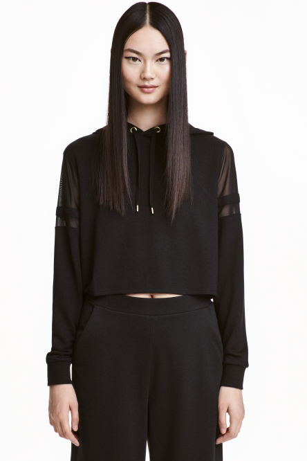 Hooded top with mesh details