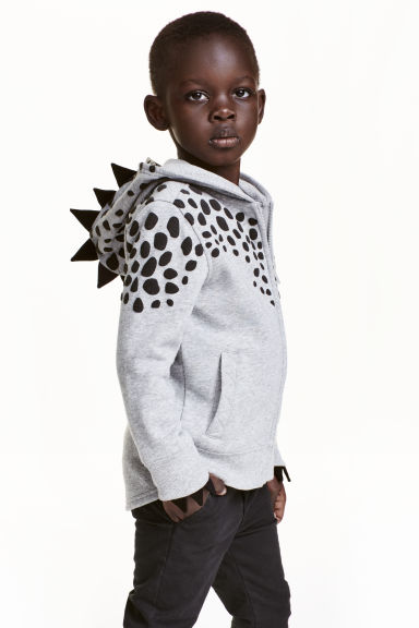 Patterned hooded jacket - Grey/Dinosaur - Kids | H&M CN 1