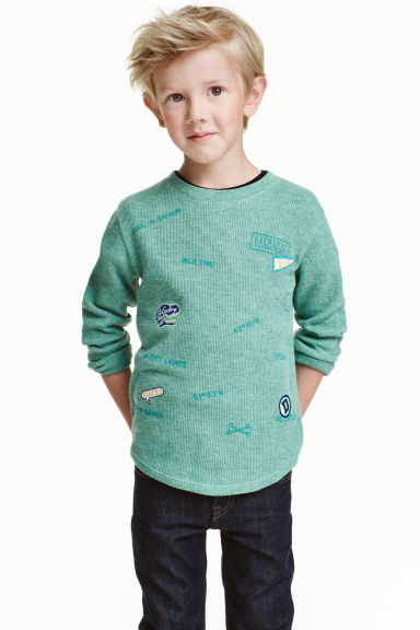 Long-sleeved T-shirt - Light green - Kids | H&M CN 1