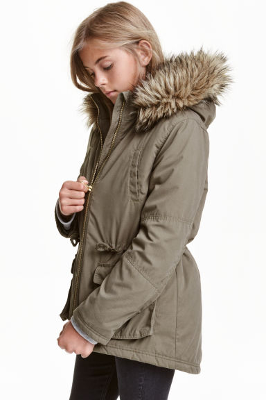 Padded parka - Khaki green - Kids | H&M CN