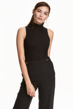 Ribbed turtleneck top - Black -  | H&M CN 1