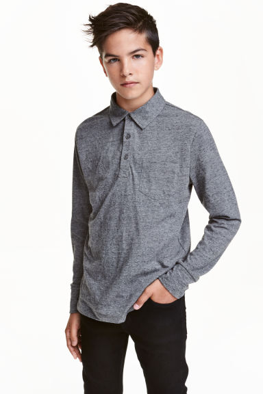 Long-sleeved polo shirt - Dark grey marl - Kids | H&M CN 1