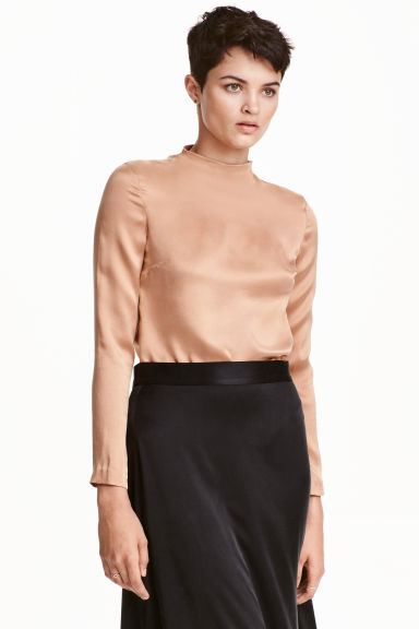 Silk blouse - Beige - Ladies | H&M CN 1