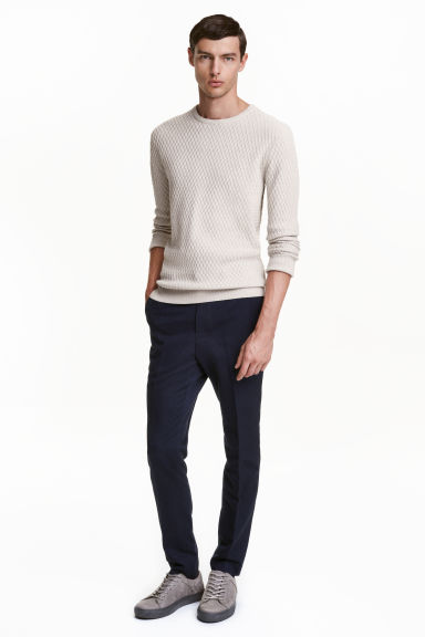 Pantaloni da completo Slim fit - Blu scuro - UOMO | H&M IT 1