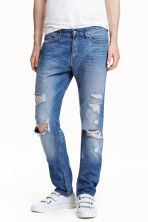 Slim Regular Trashed Jeans  - Denim blue - Men | H&M CN 1