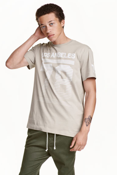 Printed T-shirt - Beige/Los Angeles - Men | H&M CN 1