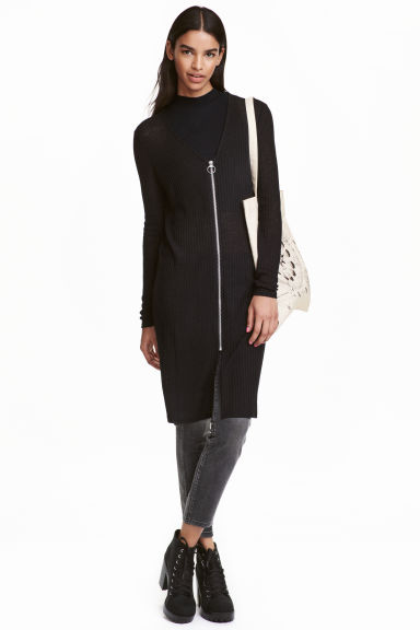 Zipped cardigan - Black - Ladies | H&M CN