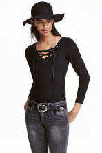Top with lacing - Black - Ladies | H&M GB 1