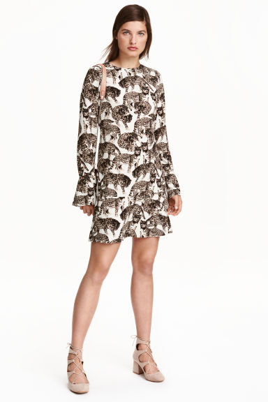 Patterned dress - Natural white/Cats - Ladies | H&M