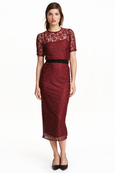 Lace skirt - Burgundy -  | H&M CN 1