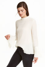 Blouse with trumpet sleeves - Natural white - Ladies | H&M GB 1