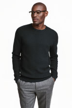 Jumper in a textured knit - Black - Men | H&M CN 1