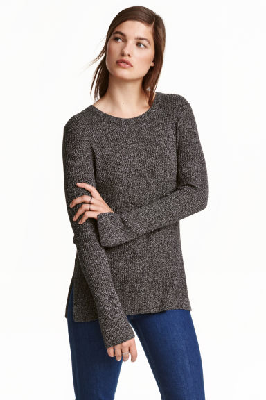 Ribbed jumper - Dark grey marl -  | H&M CN 1
