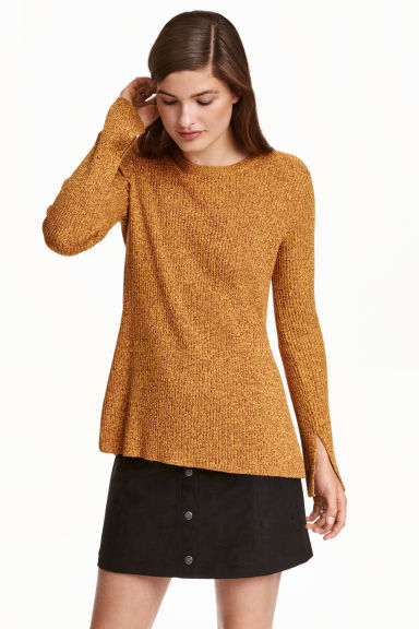 Ribbed jumper - Yellow marl -  | H&M IE 1