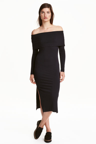 Off-the-shoulder dress - Black - Ladies | H&M CN 1