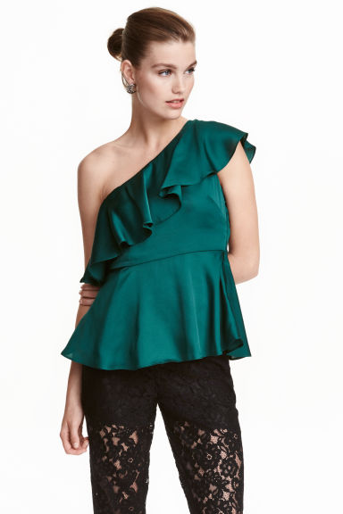 Top monospalla - Verde scuro -  | H&M IT 1