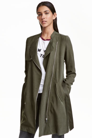 Lyocell trenchcoat - Khaki green - Ladies | H&M GB
