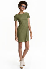 Ribbed jersey dress - Khaki green -  | H&M CN 1