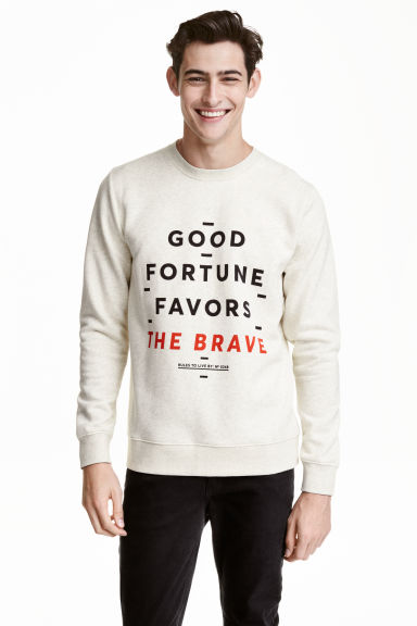 Printed sweatshirt - Light grey-beige - Men | H&M CN