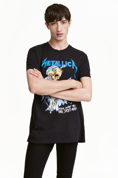T-shirt with a print motif - Black/Metallica - Men | H&M CN 1
