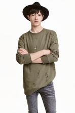 Sweatshirt Trashed  - Khaki green - Men | H&M CN 1