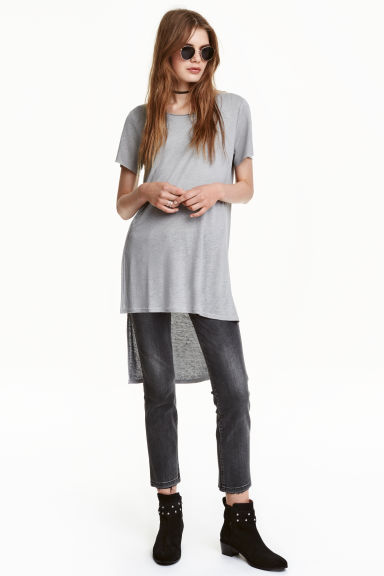 Long linen-blend T-shirt - Grey - Ladies | H&M CN 1