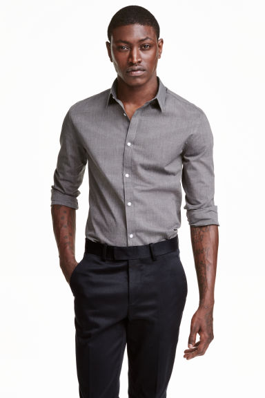 Easy-iron shirt - Black/Chambray - Men | H&M CN 1