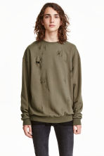Trashed sweatshirt - Khaki green - Men | H&M 1