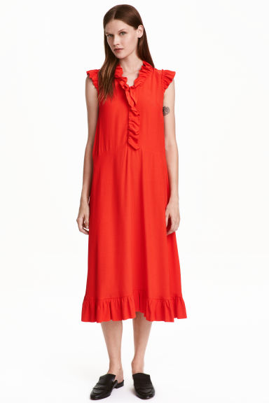 Dress with frills - Red - Ladies | H&M CN 1