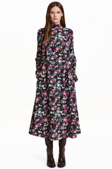 Patterned dress - Black/Floral - Ladies | H&M GB 1