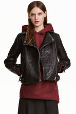Leather biker jacket - Black - Ladies | H&M GB 1