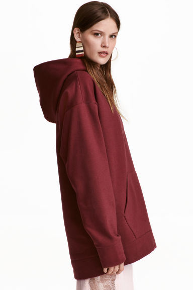 Oversized hooded top - Burgundy - Ladies | H&M GB