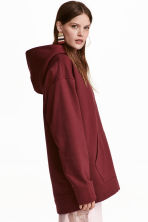 Oversized hooded top - Burgundy - Ladies | H&M GB 1