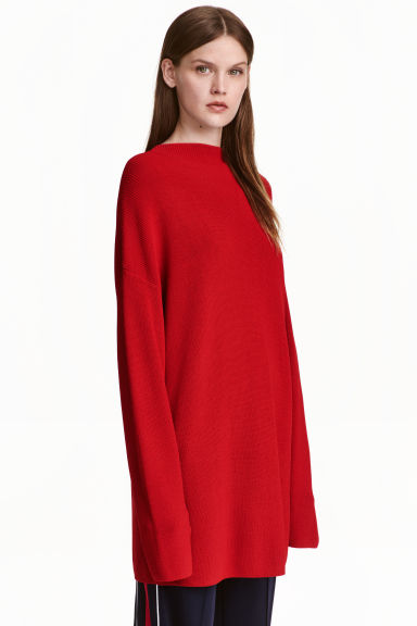 Knitted turtleneck jumper - Red - Ladies | H&M CN 1