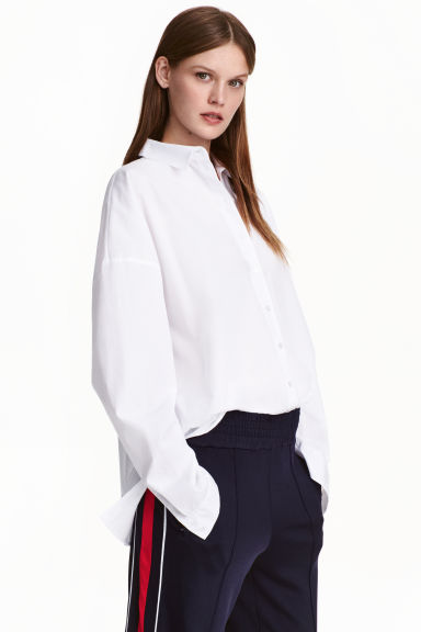 Oversized cotton shirt - White - Ladies | H&M CN 1
