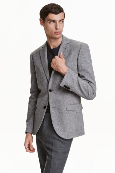 Herringbone-patterned jacket - Grey - Men | H&M CN 1