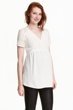 MAMA Chiffon blouse with lace - White - Ladies | H&M CN 1