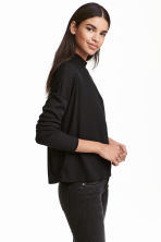 Ribbed turtleneck jumper - Black - Ladies | H&M CN 1