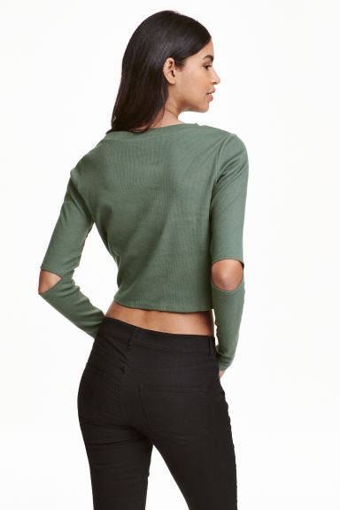 Cropped jersey top - Khaki green - Ladies | H&M CN 1