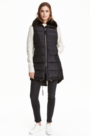 Padded gilet with faux fur - Black - Ladies | H&M CN 1