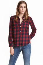 Cotton shirt - Dark red/Checked - Ladies | H&M CN 1