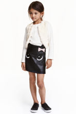 Imitation leather skirt - Black/Cat - Kids | H&M CN 1