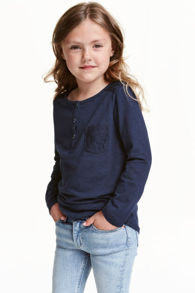 Jersey top with lace - Dark blue - Kids | H&M CN 1