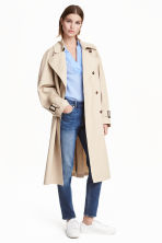 Cotton trenchcoat - Light beige - Ladies | H&M CN 1