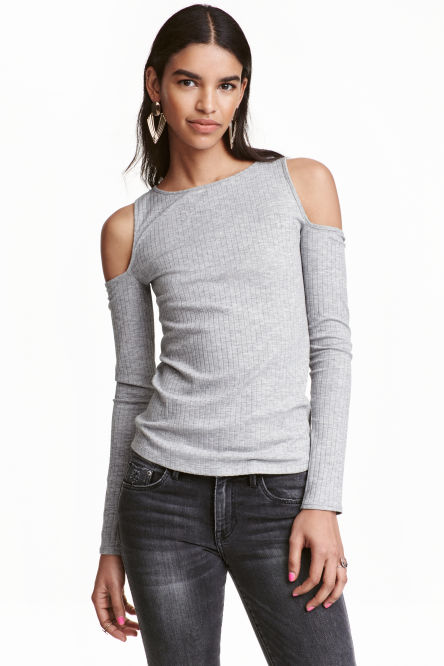 Geribde cold-shouldertop