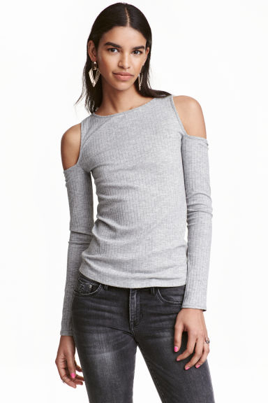 Ribbed cold shoulder top - Grey - Ladies | H&M CN 1