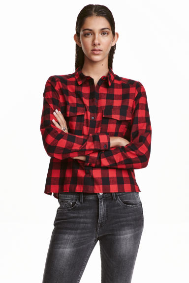 Short flannel shirt - Red/Checked - Ladies | H&M CN 1