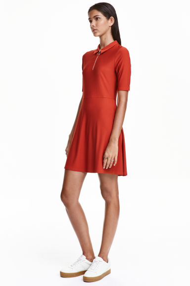 Short dress - Rust red - Ladies | H&M CN