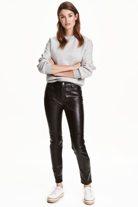 Imitation leather trousers