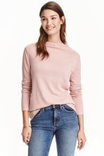 Turtleneck top - Powder pink marl - Ladies | H&M 2